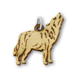 A Wooden Howling Wolf Charm