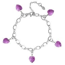 Amethyst Crystal Heart Charm Bracelet