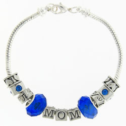 Birthstone Mom Pewter Bracelet