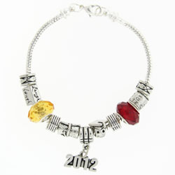 Graduation Pewter Bracelet with School Colors