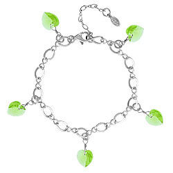 Peridot Bracelet with Crystal Hearts
