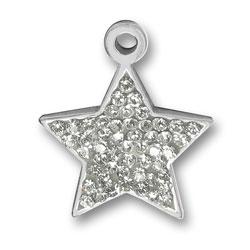 Pewter Crystal Star Charm