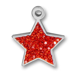 Pewter Red Crystal Star Charm