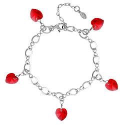 Siam Crystal Heart Charm Bracelet