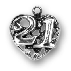 Sterling Silver 21 on Heart Charm