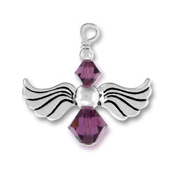 Sterling Silver Angel Charm with Amethyst Glass Beads