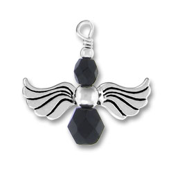 Sterling Silver Angel Charm with Black Glass Beads
