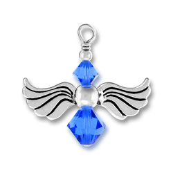 Sterling Silver Angel Charm with Sapphire Glass Beads