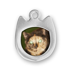 Sterling Silver Cat Picture Frame Charm (Not Engraved)