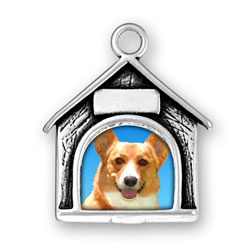 Sterling Silver Dog House Picture Frame Charm-Engraved