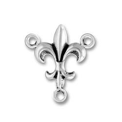 Sterling Silver Fleur de Lis Rosary Center