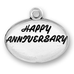 Sterling Silver Happy Anniversary Charm