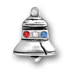 Sterling Silver Liberty Bell with Crystals
