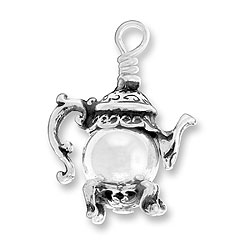 Sterling Silver Teapot Charm with Silver Bead