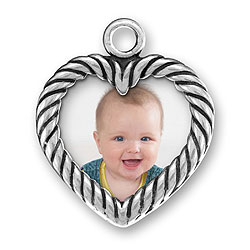 Sterling Silver Two Sided Heart Picture Frame Charm