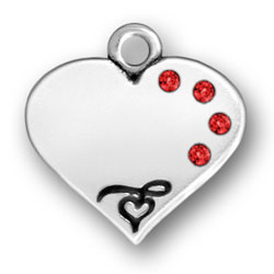 Personalized Heart Charm with Crystals Engraved
