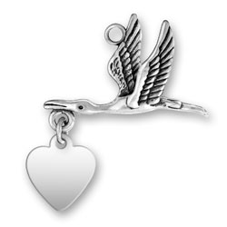 Personalized Stork Charm with Engraved Heart