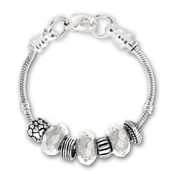 April Clear Glass Silver Tone Charm Bracelet