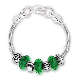 May Emerald Silver Tone Charm Bracelet