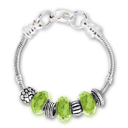 August Peridot Silver Tone Charm Bracelet