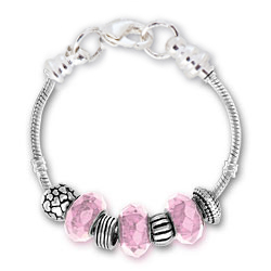 October Tourmaline Silver Tone Charm Bracelet