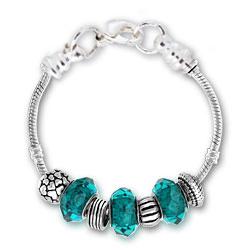 December Zircon Silver Tone Charm Bracelet